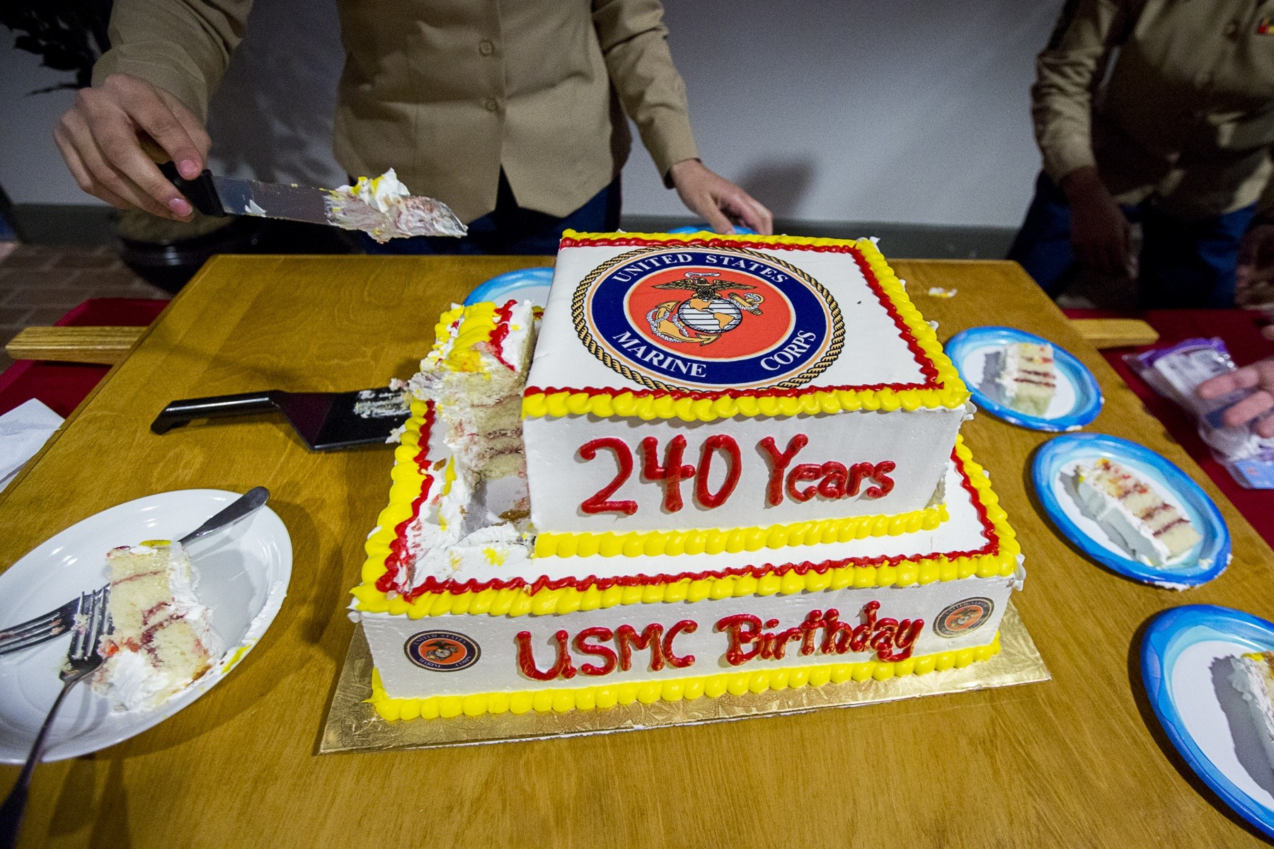 Local Marines Celebrate Corps 240th With Cake Cutting Article