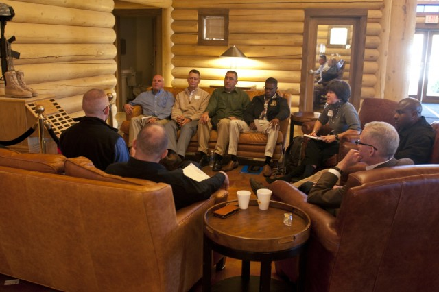 U.S. Army Reserve senior leaders with the 412th Theater Engineer Command, meet in a small group during a breakout session of the second 412th TEC Senior Leader Development Training, Nov. 13 to 15 at Camp Atterbury, Ind. (U.S. Army photo by Staff Sgt. Debralee Best)