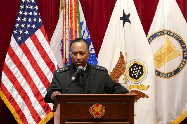 Army Materiel Command's Commander Gen. Dennis Via speaks at AMC's inaugural Innovation Summit.