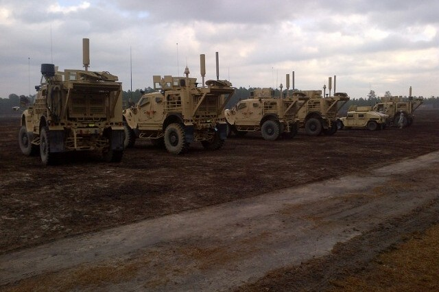 Soldiers from the 303rd Military Intelligence Battalion, 504th Military Intelligence Brigade, man vehicles like these to conduct signals intelligence (SIGINT) missions. The Prophet Enhanced system is mounted on a MRAP All-Terrain Vehicle to allow maximum portability for the intel Soldiers.