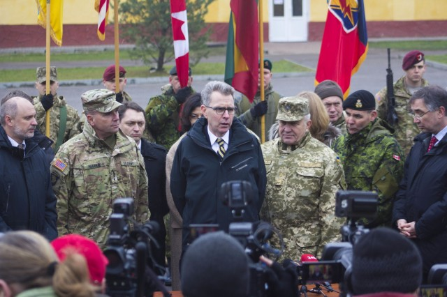 Geoffrey R. Pyatt, U.S. ambassador to Ukraine, answers questions from Ukrainian media following the Fearless Guardian II opening ceremony at the International Peacekeeping and Security Center near Yavoriv, Ukraine, Nov. 23, 2015.