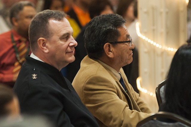 Maj. Gen. Kevin O'Connell (left), commanding general, U.S. Army Sustainment Command, sits with guest speaker Russell Begaye, Navajo Nation president, during Rock Island Arsenal's Native American Month observance in Illinois, Nov. 24th. (Photo by Kevin Fleming, ASC Public Affairs)