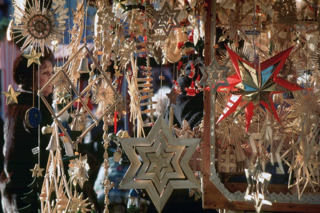 Stars Made From Wood Or Straw Decorate A Traditional German Christmas Tree.