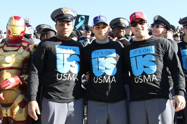 U.S. Military Academy at West Point Cadets lead the way in supporting the fight against sexual harassment and sexual assault, by showing their colors at Michie Stadium during the last home Army Football game of the season, Nov. 21 (U.S. Army photo by Eric Bartelt, USMA Public Affairs/released.)