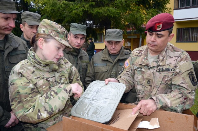 Spec. Kristina Chereshnieva, a Veterinary Food Inspection Specialist assigned to the Rheinland Pfalz Branch, Public Health Command District Northern Europe helps Sgt. 1st Class Edward Harmon, a senior food services specialist assigned to the 173rd Airborne Brigade, discuss menu options with Ukrainian National Guardsmen during Exercise Fearless Guardian in Yakoriv, Ukraine.