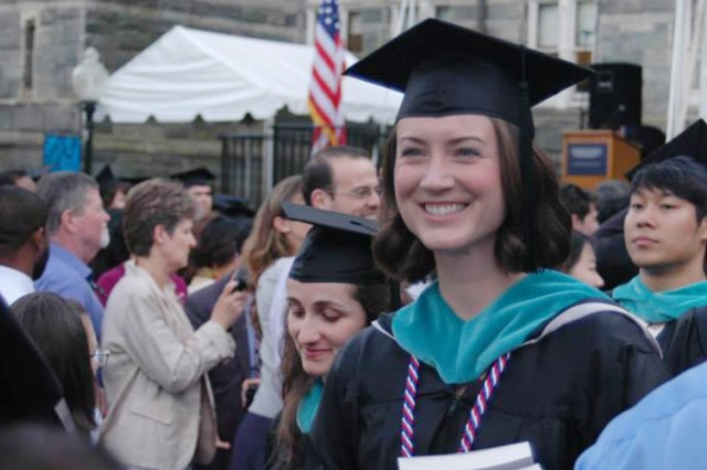 Capt. Jillian Bourque joins other graduates for the commencement ceremony at the Georgetown University McCourt School of Public Policy in Washington, D.C., May 14, 2015. She is presently serving as a policy initiatives and plans officer with Office of the Chairman of the Joint Chiefs of Staff, Office of Reintegration, at the Pentagon.