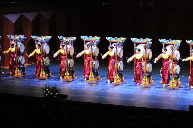 Members of the Kook Soo Ho Didim Dance Company perform traditional Korean music and dance at the Eighth American-Korean Friendship Holiday Concert Dec. 6 at the Seoul Arts Center in Seoul, South Korea. (U.S. Army Photo by Sgt. 1st Class Jimmy Norris, Eighth Army Public Affairs)