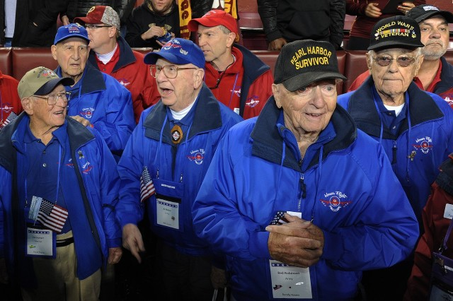 Several military members were on hand for the NFL Monday Night Football game between the Washington Redskins vs the Dallas Cowboys at FedEx Field in Landover, Md., Dec. 7, 2015.The Washington Redskins continued their tradition of honoring the nation's veterans and active duty military through the team's annual Salute to Service game.