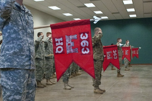U.S. Army Reserve companies under the newly activated 363rd Engineer Battalion, salute during the activation ceremony Dec. 5 in Knightdale, N.C. (U.S. Army photo by Staff Sgt. Debralee Best)
