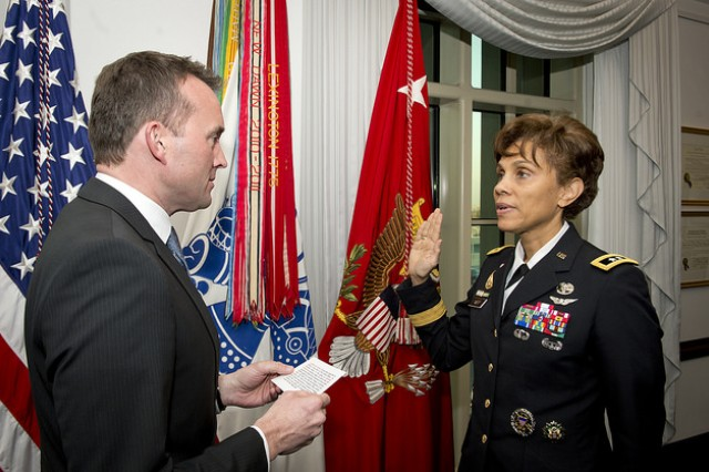 Maj. Gen. Nadja West is sworn in as 44th Surgeon General of the Army by Acting Secretary of the Army Eric Fanning. West is also Commander of the US Army Medical Command.