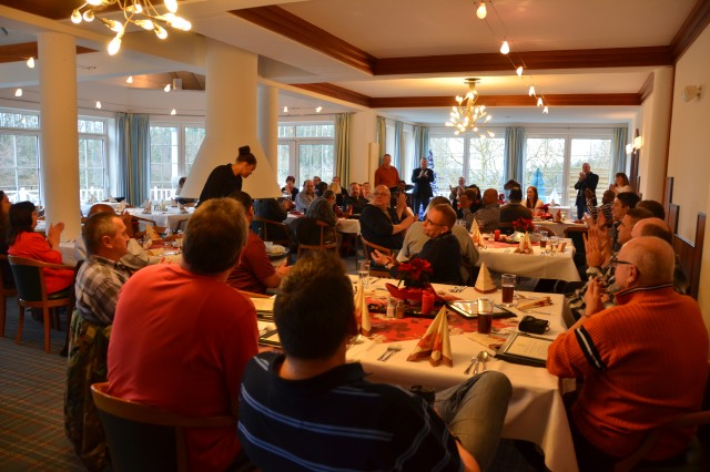 ANSBACH, Germany (Dec. 15, 2015) -- Members of the Logistics Readiness Center -- Ansbach assembled at a local golf club Dec. 2 to recognize their workforce for capably handling a large throughput during a time of short staffing. (U.S. Army photo by Bryan Gatchell, USAG Ansbach Public Affairs)