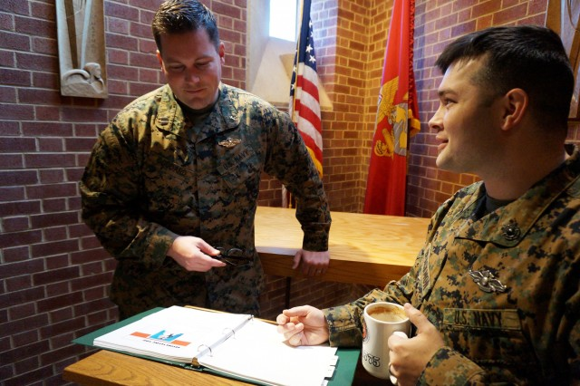 U.S. Navy Lt. Chad Goddard, chaplain for Headquarters and Service Battalion