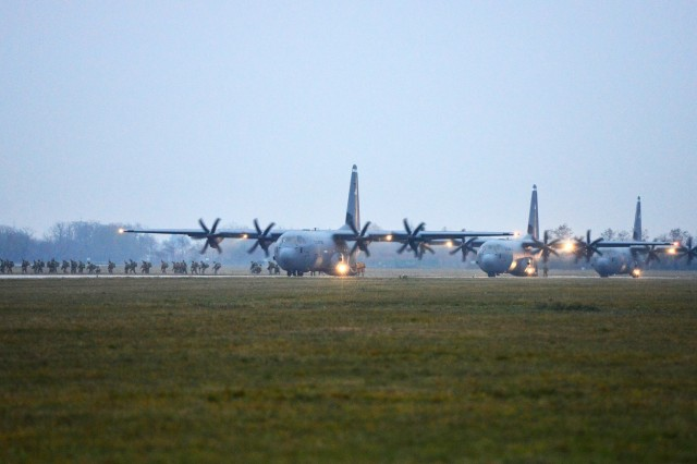 A U.S. Air Force 86th Air Wing C-130 Hercules, loaded with paratroopers from the 2nd Battalion, 503rd Infantry Regiment, 173rd Airborne prepares for take off during Exercise Rock Nemesis at Rivolto Air Base, Italy, Dec. 4, 2015. The 173rd Airborne Brigade is the U.S. Army Contingency Response Force in Europe, capable of projecting ready forces anywhere in the U.S. European, Africa or Central Commands areas of responsibility within 18 hours. (U.S. Army Photos by Visual Information Specialist Paolo Bovo/Released)