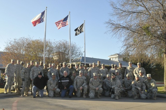Motorcycle riders in the 3rd Armored Brigade Combat Team, 1st Cavalry Division visited the William R. Courtney Texas State Veterans Home in Temple, Texas, Dec. 18, 2015.