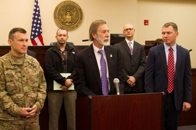 Richard Durbin Jr., center, U.S. attorney of the Western District of Texas, announces the beginning of the Veterans Endeavor for Treatment and Support program on Fort Hood, Texas, Dec. 11, 2015.