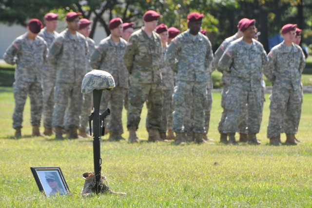 The Army Reserve's 404th Civil Affairs Battalion (Airborne) held a memorial service to honor one of its own Sept. 13 at Sharp Field on Joint Base McGuire-Dix-Lakehurst, N.J. Spc. Carlos Del Castillo, a Soldier with the 404th's Bravo Company, died Aug. 22 due to injuries sustained in a motor vehicle accident.