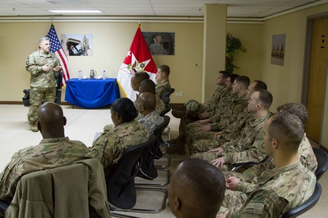 Army Chief of Staff Gen. Mark A. Milley holds a leader professional development session with captains from U.S. Army Central on Camp Arifjan, Kuwait, Dec. 18, 2015.