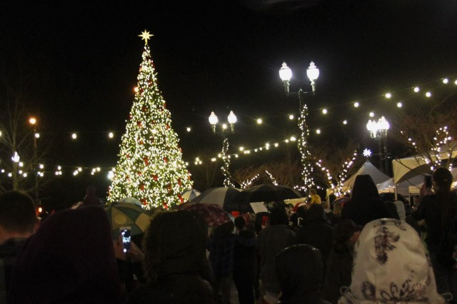 The tree is lit at Winter Fest 2015 in University Place, Wash., Dec. 5, 2015. University Place and 16th CAB are partners under 7th Infantry Division's Community Connector Program.