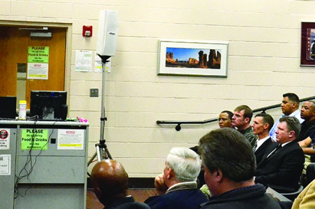 "Fort Campbell Garrison Commander Col. James ""Rob"" Salome addresses the first graduating class of the mechatronics program, offered at the Staff Sgt. Glenn H. English Army Education Center through Nashville State Community College. Graduates received technical certificates, Friday, after completing the 16-week course that equipped them with electrical, mechanical, hydraulic, pneumatic and computer control knowledge, among other skills needed to work in the mechatronics career field."