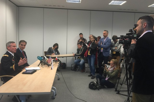 Col. Matthew Tyler, left, U.S. Army Corps of Engineers Europe District commander, and U.S. Ambassador to Poland Paul Jones address the Polish media during a pre-proposal conference for the next phase of Aegis Ashore ballistic missile defense in Slupsk, Poland, Dec. 3, 2015.