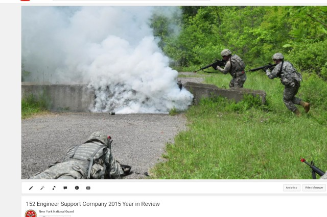 Soldiers, of the New York Army National Guard's 152nd Engineer Company, maneuver during training lanes conducted on Fort Dix, N.J., during their annual training, at the base. The image is part of a video the company submitted to win the New York National Guard's first unit video competition.
