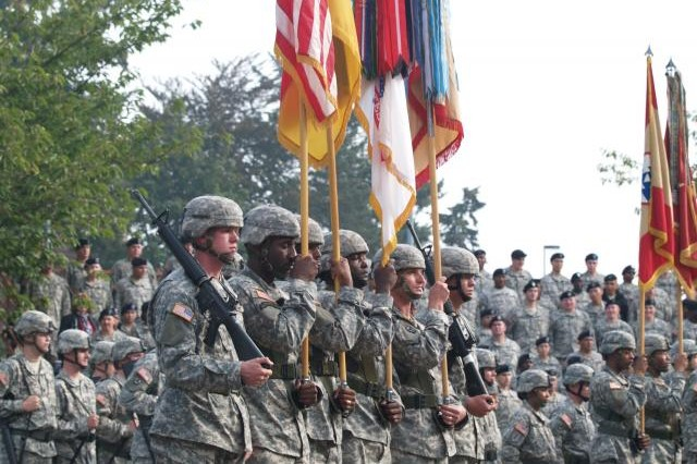 Soldiers of the 3rd COSCOM prepare for colors casing in Wiesbaden Germany, in 2007.