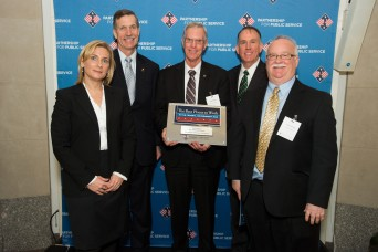 The 2015 Best Places to Work in the Federal Government Award Presentation.  (L-R) Lisa Bryan, Auditor; Karl F. Schneider, Deputy Assistant Secretary of the Army (Manpower & Reserve Affairs); Randall Exley, Auditor General; Joseph Bentz, Principal Deputy Auditor General; Dennis DeVore, Auditor.