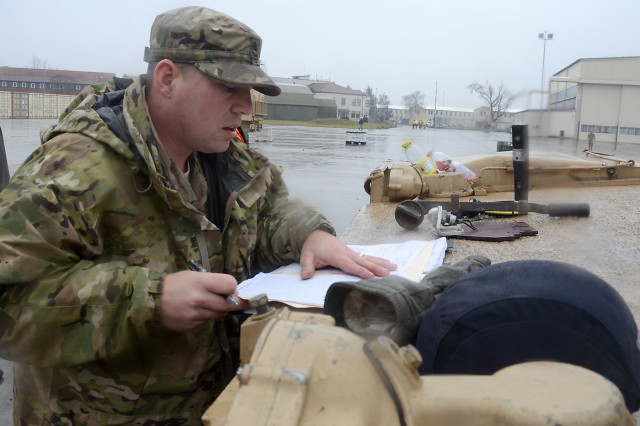 U.S. Army Staff Sgt. Christopher Couture, a tank commander with Company C, 3rd Battalion, 69th Armor Regiment, was among the service members, who  recently were tasked with turning in tons of gear to the European Activity Set at Coleman Worksite in Mannheim, Germany.