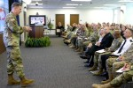 Army Deputy Chief of Staff G-1 Lt. Gen. James C. McConville addresses Soldier and civilians at Redstone Arsenal in December 2015.