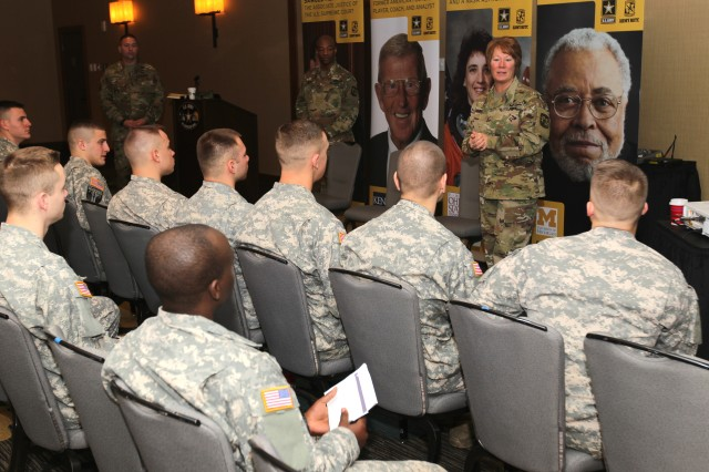 Maj. Gen. Peggy Combs, commander of U.S. Army Cadet Command and Fort Knox, speaks with Cadet Marshals during an Officer Professional Development session Jan. 7. The Cadets are in San Antonio for the week leading up to the U.S. Army All-American Bowl to assist and mentor football players as well as band members.