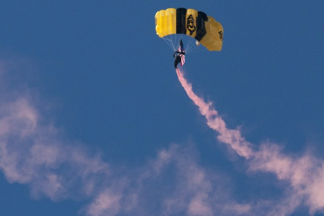 Sgt. Alex Bahry, a Soldier on the Army's Golden Knights' parachute team, floats down in San Antonio, Jan. 7, 2016.