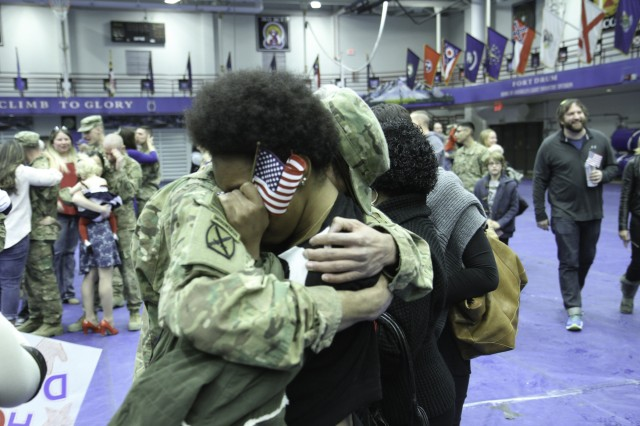 "Soldiers assigned to 2nd Brigade Combat Team ""Commandos,"" returned to Fort Drum today, from a nine month deployment in Afghanistan where they were welcomed home during a ceremony held at Magrath Sports Complex."