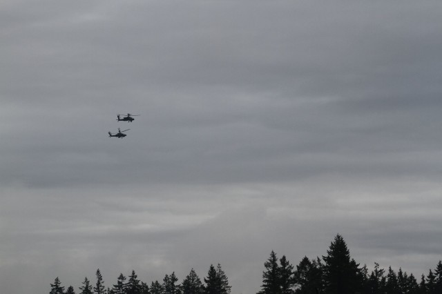 U.S. Army Soldiers and aircraft assigned to 16th Combat Aviation Brigade, 7th Infantry Division depart from Joint Base Lewis-McChord, Washington for the National Training Center Jan. 9, 2016. The Soldiers and aircraft will participate in training with other units from 7th Infantry Division to prepare for future missions.