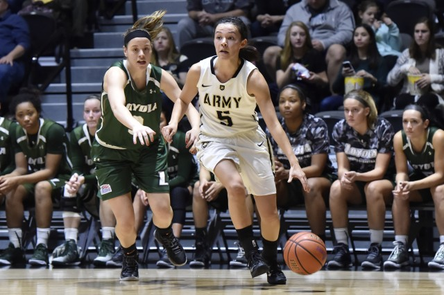 U.S. Military Academy at West Point Cadet Kelsey Minato on her way to scoring a game leading 23 points and helping Army women's basketball beat Loyola University 70-37 at Christl Arena, Jan. 9 (Photo by Army West Point Athletics/all rights reserved.)