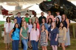 Some of the 2013 Army Emergency Relief scholarship recipients from the Fort Rucker area are shown visiting the Army Aviation Museum there.