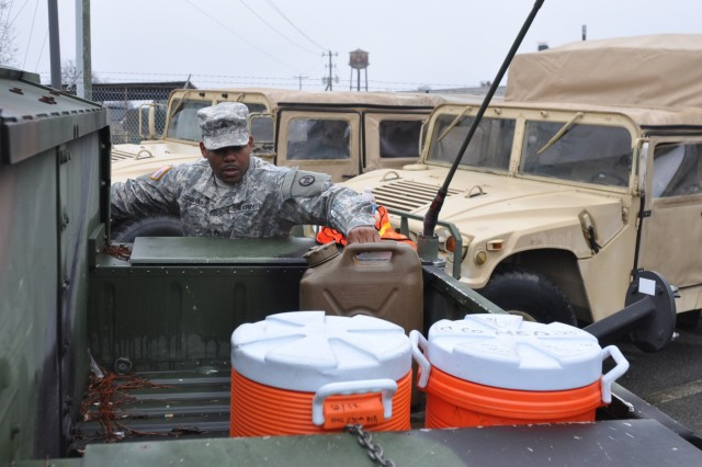 North Carolina National Guard Soldiers hone their state active-duty response with a simulated winter storm deployment from armories in Goldsboro, Kinston and Benson, N.C., Jan. 9, 2016.