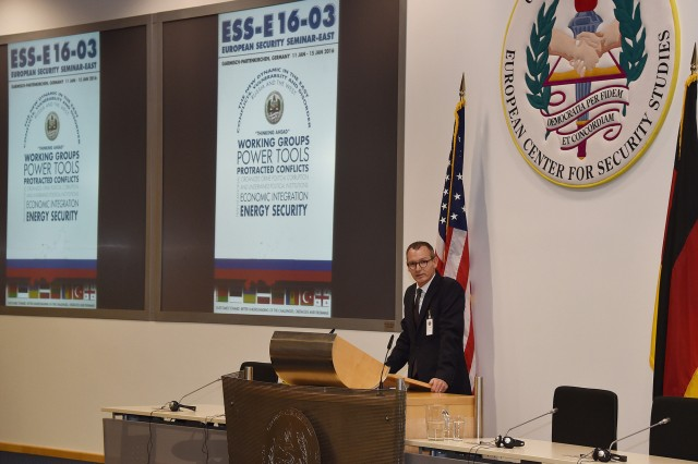 Dr. Ralf Roloff, senior German professor at the Marshall Center's College of International and Security Studies, welcomes 58 participants from 28 countries to the new European Security Seminar-East Jan. 11 at the Marshall Center in Garmisch-Partenkirchen, Germany. (Marshall Center photo by Karl-Heinz Wedhorn/RELEASED)