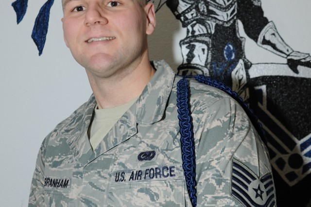 Tech. Sgt. Cory Branham, Fort Leonard Wood's Air Force 364th Training Squadron, Detachment 1, received an on-the-spot promotion from staff sergeant by way of the Stripes for Exceptional Performers Program, or STEP.