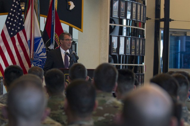 U.S. Secretary of Defense Ashton B. Carter speaks to 101st Airborne Division (Air Assault) Soldiers  during a visit to Fort Campbell, Ky., Jan. 13, 2016. Carter visited Fort Campbell Soldiers to talk about the 101st's upcoming mission and to thank deploying Soldiers for their sacrifices. (U.S. Army photo by Sgt. William White)