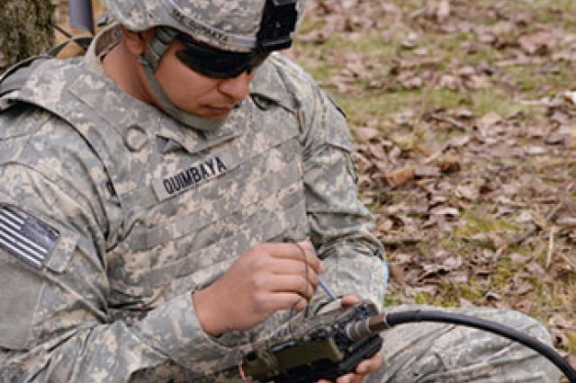 SPC Christopher Quimbaya, a paratrooper assigned to 1st Battalion, 503rd Infantry Regiment, 173rd Infantry Brigade Combat Team (Airborne), uses the Defense Advanced GPS Receiver (DAGR) during a combined-arms live-fire exercise at Grafenwoehr, Germany, March 28, 2014. The DAGR Distributed Device (D3), a replacement for the DAGR, is one of several solutions under development that incorporate the Positioning, Navigation and Timing (PNT) System of Systems Architecture.