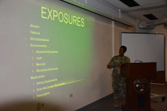 Maj. Manushka Angoy, Tripler Army Medical Center (TAMC), OB/GYN Outpatient Clinic, speaks about the hazards that a potential mother can be exposed to prior to getting pregnant.  Angoy explains how to prepare your mind and body for a healthy pregnancy during TAMC's new Preconception Health Class. The class is offered the first Wednesday of every month.