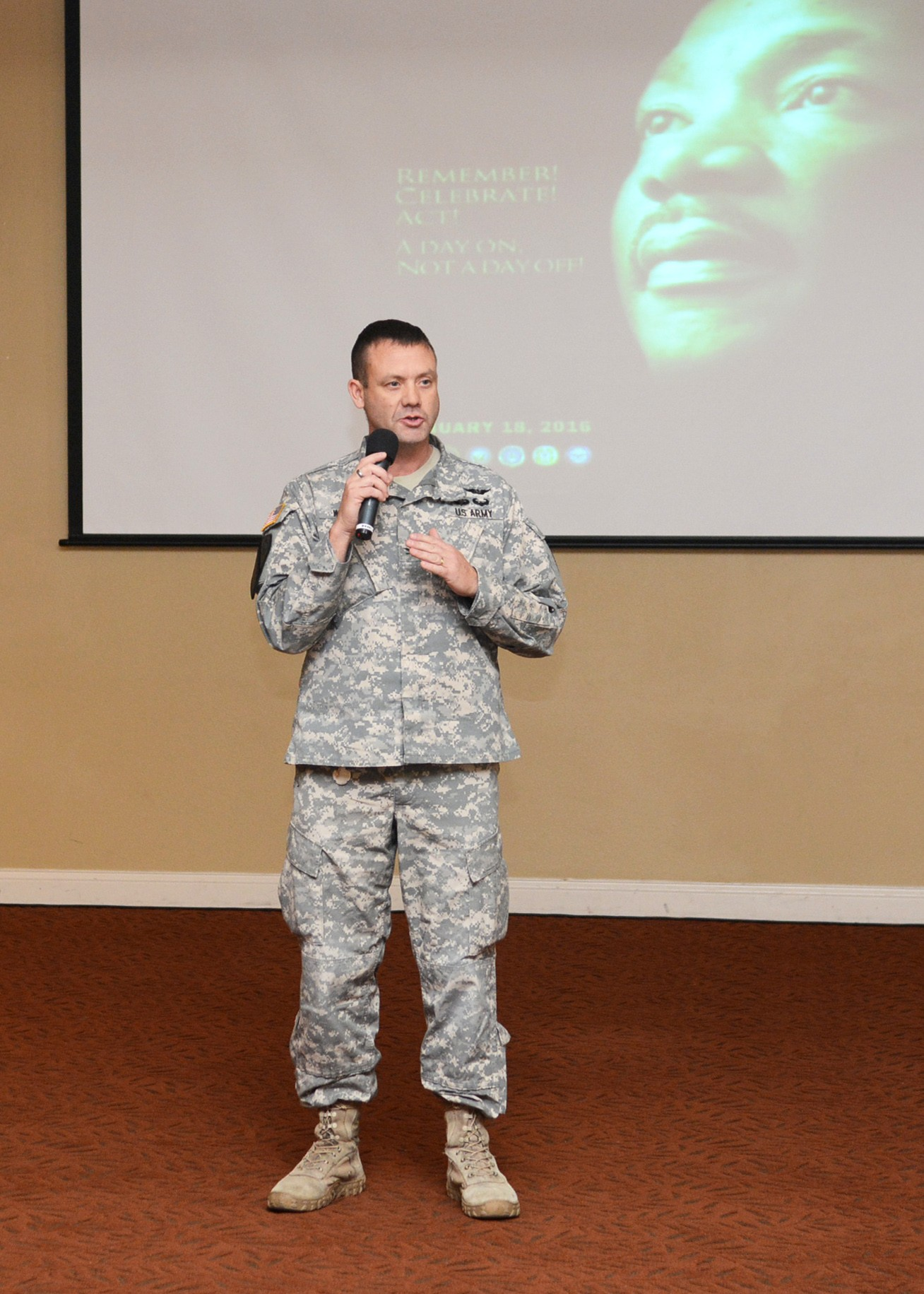 ... Irwin United States Army Medical Department Activity Commander Col. Jason Wieman speaks at a 2016 Martin Luther King Jr. Day celebration, Jan. 6.