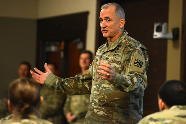 Lt. Gen. Robert Brown, commander of the Combined Arms Center, gives feedback during the first-ever Warrant Officer Solarium, held at the Command and General Staff College on Fort Leavenworth, Kan., Jan. 15, 2016.