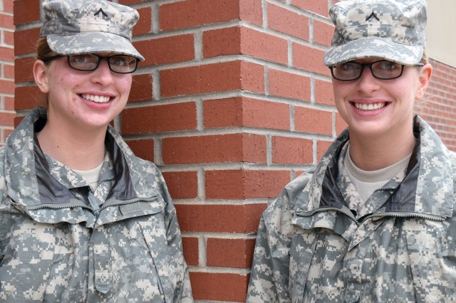 Pvts. Alyxandra and Brandy Erdmann, Company C, 795th Military Police Battalion.