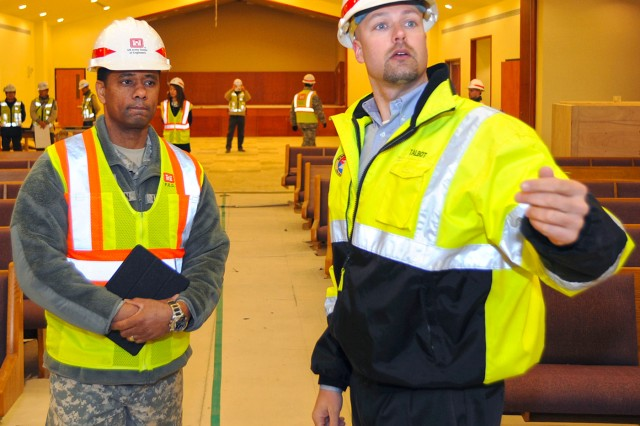 In this photo, Chaplain (Col.) Raymond A. Robinson, Jr., the USFK command chaplain, tours the new chapel recently completed at Camp Humphreys.  One critical aspect of any military installation is a space that allows for service members to exercise their freedom of religion. For a military city, greater numbers and diversity demand more than just a single space. The first of four new chapels was recently completed, and is slated to be put into use by mid-2016.  Until around 2014, U.S. Army Garrison-Humphreys personnel exercised their freedom of religion using one small chapel (the Freedom Chapel) and a small worship space in the 501st Military Intelligence area, said Robinson. Since the Freedom Chapel was demolished, the chaplains have been holding services in the Humphreys high school through a facility usage agreement with the Department of Defense Education Activity.