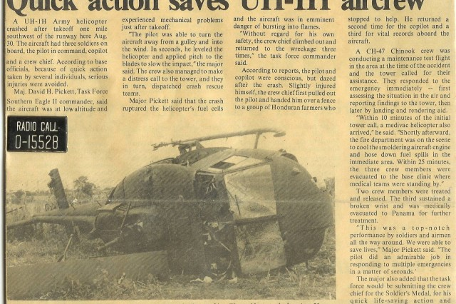 The original article from the Iguana, the local U.S. Army newspaper at Palmarola Air Base at the time, covering the helicopter crash in 1988 (U.S. Army photo/released.)
