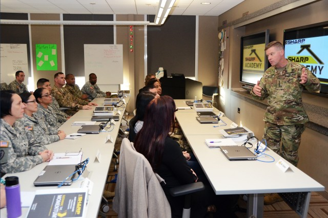 General David G. Perkins, commanding general of U.S. Army Training and Doctrine Command, visits with students of the U.S. Army Sexual Harassment/Assault Response and Prevention, or SHARP Academy at Fort Leavenworth, Kan., Thursday, Jan. 14