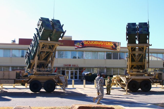 Patriot missile launchers were on display outside the Air Defense Artillery School Jan. 14, as the Fires Center of Excellence commemorated the first intercept of a tactical ballistic missile in combat.