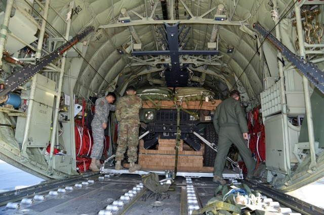 U.S. Army and Air Force load inspectors inspect two parachute-rigged Humvees belonging to the 173rd Airborne Brigade, after they've been loaded into U.S. Air Force 86th Air Wing C-130 Hercules aircraft at Aviano Air Base, Italy, Jan. 21, 2016. The 173rd Airborne Brigade is the U.S. Army Contingency Response Force in Europe, capable of projecting ready forces anywhere in the U.S. European, Africa or Central Commands' areas of responsibility within 18 hours. (U.S. Army photo by Visual Information Specialist Paolo Bovo/Released)