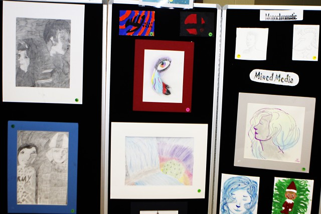 Various artist drawings by some of the more than 200 youths who participated in the West Point Youth Services and The Boys and Girls Club of America's Fine Arts Program's 13th annual Fine Arts Festival 8 at the West Point Middle School Teen Center, Jan. 8 (U.S. Army photo by Kathy Eastwood, USMA West Point, Public Affairs/released.)